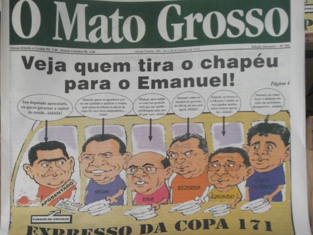 Jornal com conteúdo satírico era distribuído em Avenida de Cuiabá (Foto   Divulgação Polícia 03723f30392e2