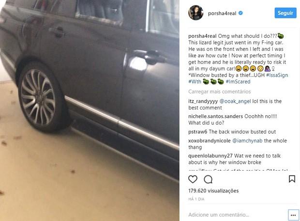 Porsha Williams mostra carro arrombado após furto (Foto: Reprodução/Instagram)