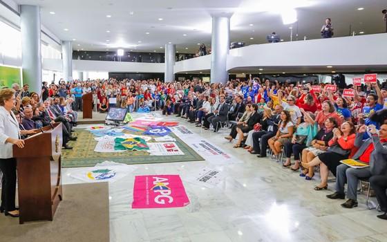 A presidente Dilma Rousseff durante encontro da Educação pela Democracia (Foto: Roberto Stuckert Filho/PR)