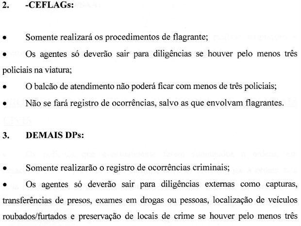 Documento do Sinpol orienta 'operação padrão' de policiais civis no DF; diligências exigem três policiais por viatura (Foto: Reprodução)