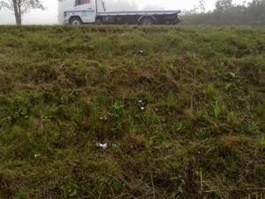 Perna do homem foi encontrada às margens da rodovia RSC-287, na altura do município de Vale do Sol (Foto: Divulgação/Polícia Civil)