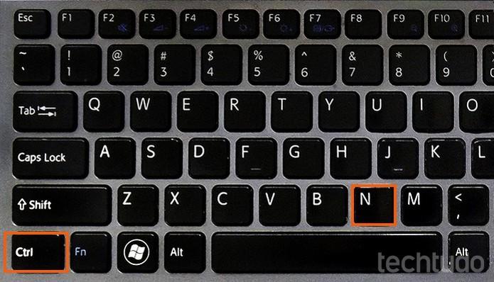 Atalho CTRL + N do teclado (Foto: Barbara Mannara/TechTudo)