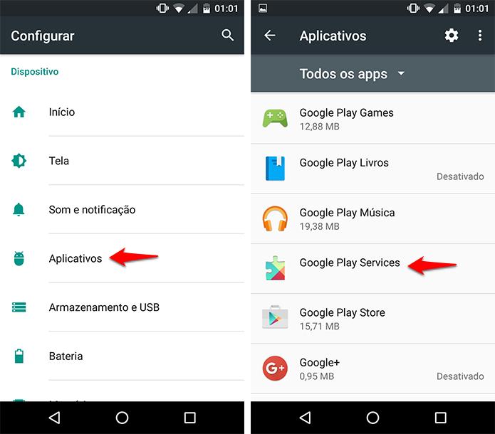 Abra as opções da Google Play Services. (Foto: Reprodução/Alessandro Junior)
