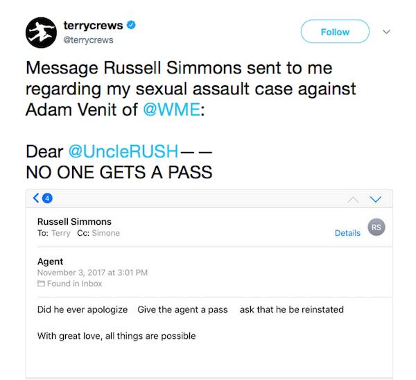 O tuíte no qual o ator Terry Crews expõe o email do empresário Russell Simmons (Foto: Twitter)