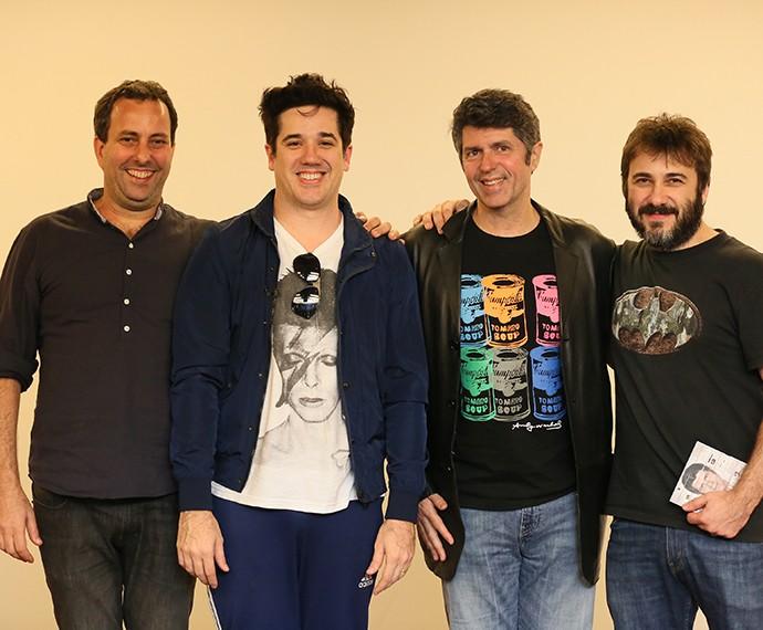 Lançamento do Laboratório do Som: Bruno Levinson, diretor do programa,Rogério Flausino, apresentador da websérie,  Leoni, convidado do programa, e Alex Medeiros, diretor artistístico multiplataforma da TV Globo (Foto: Isabella Pinheiro/Gshow)