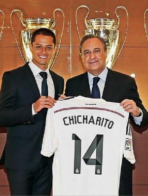 Chicharito é apresentado no Real Madrid (Foto: Reprodução / Site oficial do Real Madrid)