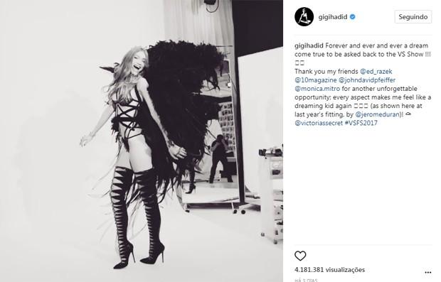 Gigi Hadid bloqueia comentários após críticas de fãs asiáticos (Foto: Reprodução/Instagram)