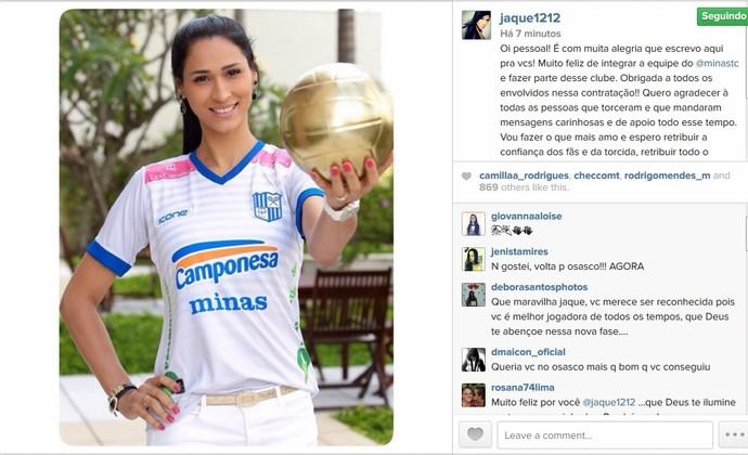 Jaqueline vôlei instagram Minas (Foto: Reprodução/Instagram)