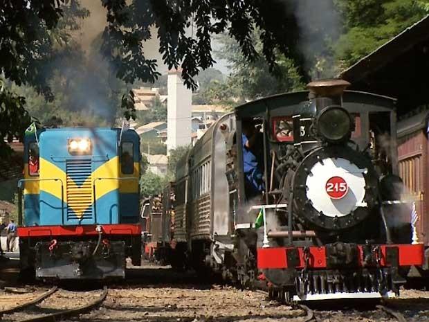 Locomotiva da Companhia Mogiana realiza passeio em Campinas, SP (Foto: Reprodução / EPTV)