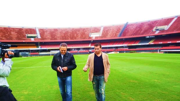 Esporte Espetacular: Luís Roberto entrevista Luizão no quadro Jogos para Sempre (Foto: Paula Alvim / TV Globo)