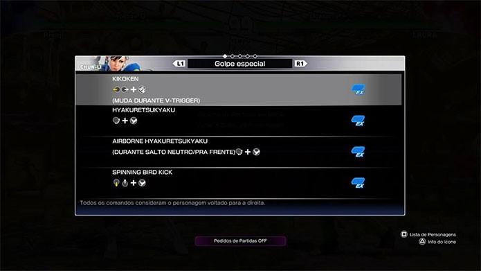 Street Fighter 5 também tem a clássica lista de golpes (Foto: Reprodução/Felipe Vinha)