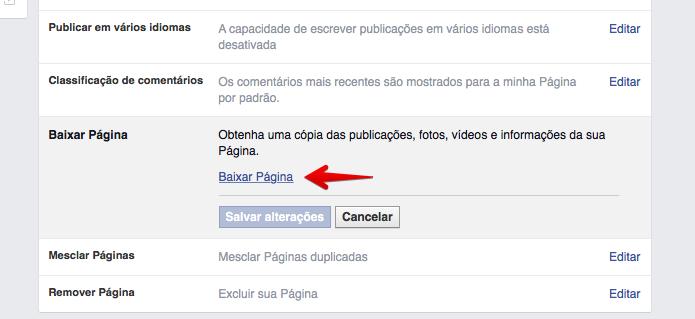 Baixando uma página do Facebook (Foto: Reprodução/Helito Bijora)