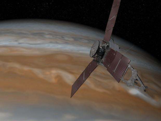 Concepção artística da sonda Juno passando por Jupiter (Foto: Jupiter NASA/JPL-Caltech)