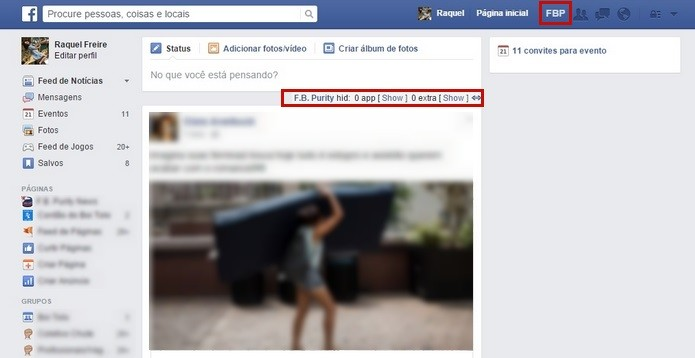 Página inicial do Facebook após instalação do F.B. Purity (Foto: Reprodução/Raquel Freire)