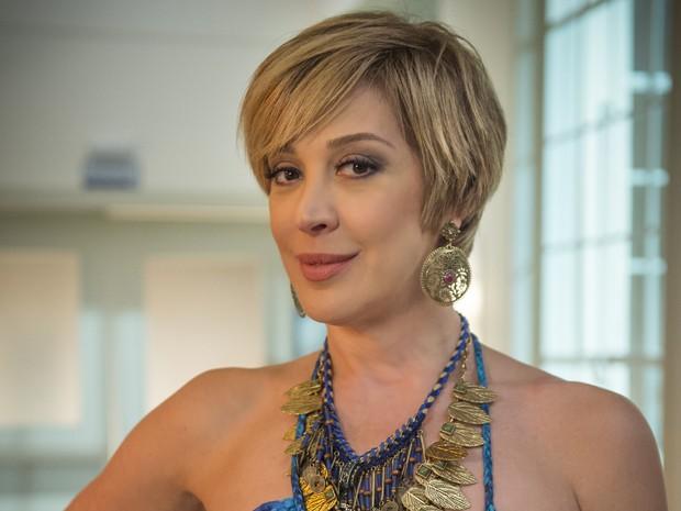 Claudia Raia grava voz de Samantha para aplicativo do Gshow (Foto: Globo/ Alex Carvalho)