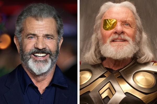 O ator Mel Gibson e o Odin de Anthony Hokins (Foto: Getty Images/Reprodução)