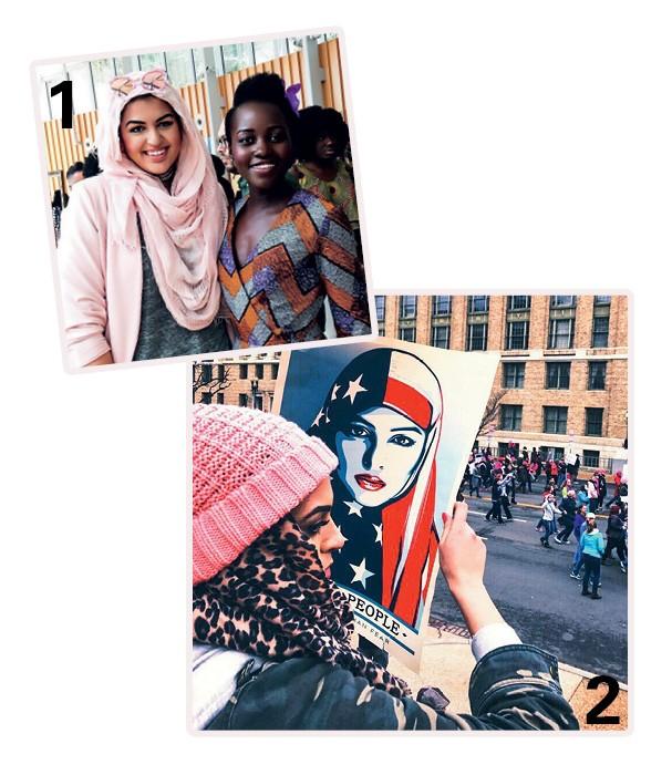 1. Amani com a atriz Lupita Nyong'o em evento sobre empoderamento feminino; 2. E no recente Women's March, protesto anti-Donald Trump (Foto: Arquivo Pessoal)