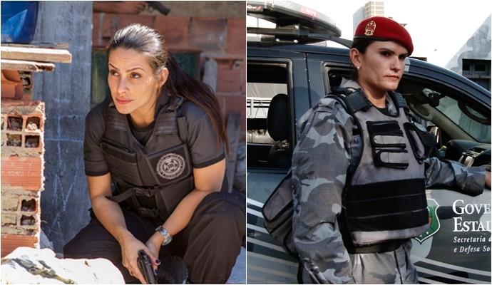 Garra a serviço da lei! Cleo Pires no filme 'Operações Especiais' e a policial Laurice Maia na vida real. (Foto: Divulgação)