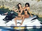 Emily Ratajkowski exibe belas curvas em dia de praia com Bella Hadid