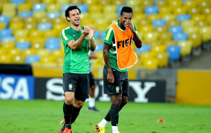 Fred e Jô treino reconhecimento Maracanã (Foto: André Durão / Globoesporte.com)
