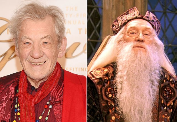 Sir Ian McKellen e Richard Harris como Dumbledore (Foto: Getty Images/Reprodução)