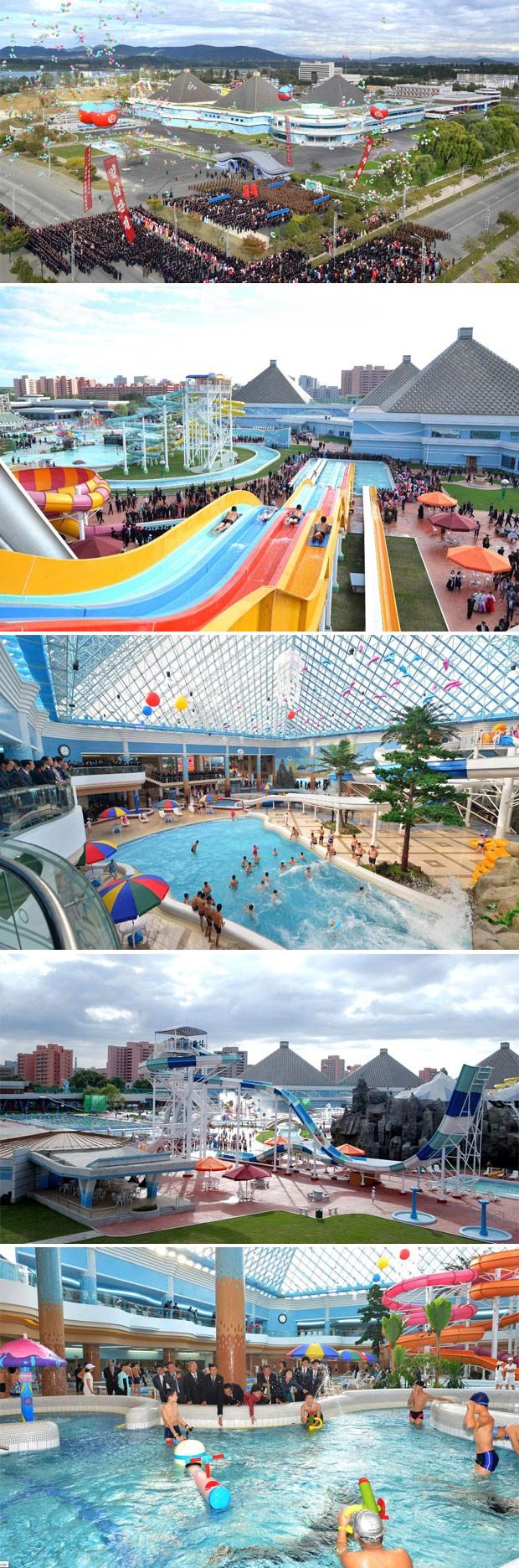 Conclusão do parque aquático Munsu, em Pyongyang, foi anunciada esta semana (Foto: KCNA/Reuters)