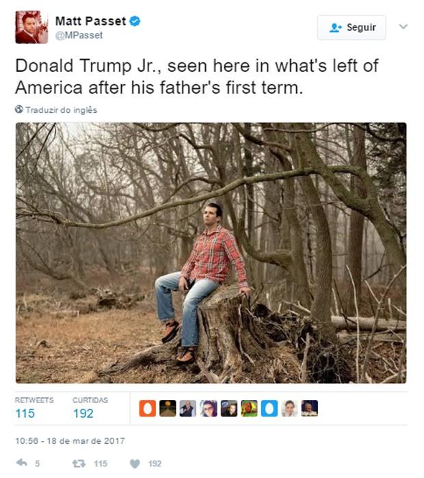 Donald Trump Jr. vira alvo de piadas após foto ao ar livre (Foto: Reprodução)