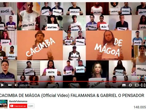 Falamansa e Gabriel Pensador lançam 'Cacimba de Mágoa' sobre tragédia em Mariana. Renda será revertida para vítimas (Foto: Reprodução/ Youtube)