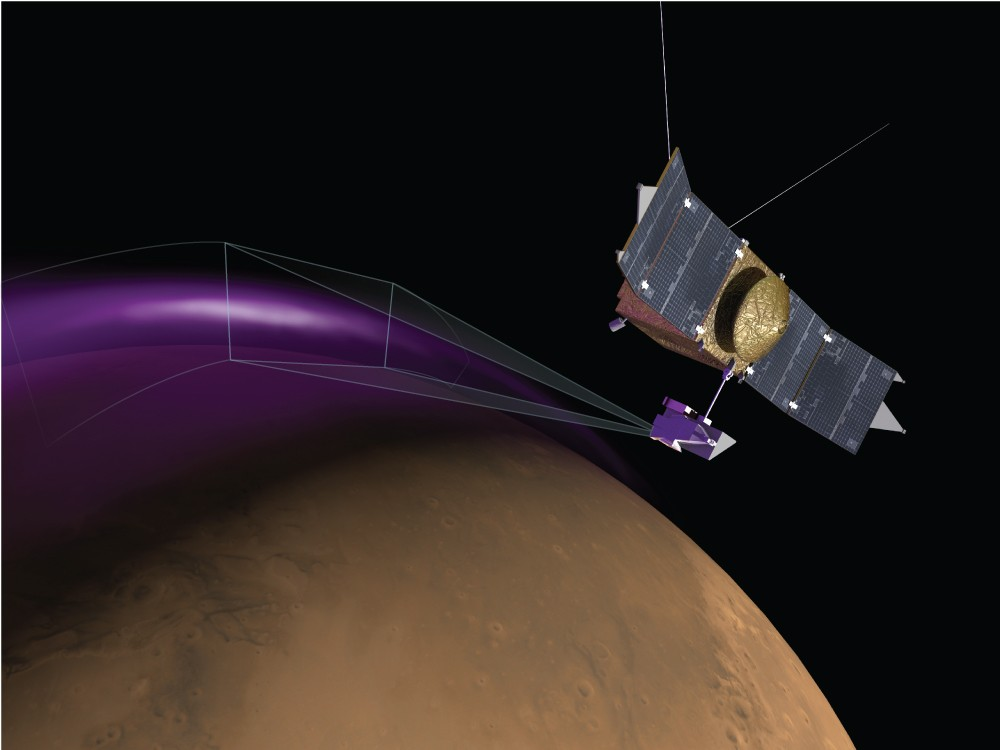 conceito da pesquisa da sonda maven (Foto: universidade do colorado - nasa)
