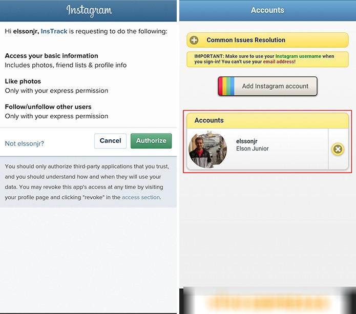Usuário precisa autorizar InstaTrack a ter acesso à conta para fazer retrospectiva (Foto: Reprodução/Elson de Souza)