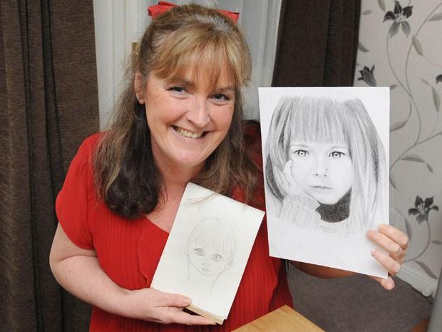 Pip Taylor, de 49 anos, mostra os desenhos antes e depois de bater a cabeça (Foto: Caters News)