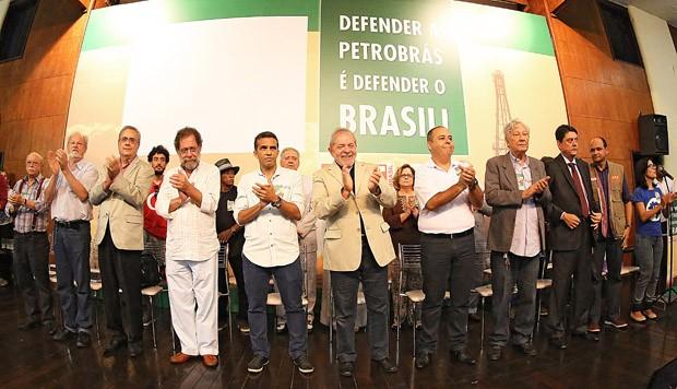 Lula aplaude e sorri durante evento na ABI (Foto: Ricardo Stuckert/ Instituto Lula)