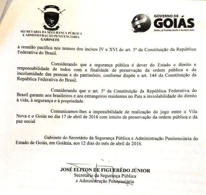 Pedido - Goiás x VIla Nova (Foto: Divulgação)