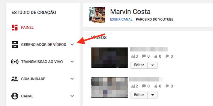 Página de escolha para alterações em vídeos de um canal do YouTube (Foto: Reprodução/Marvin Costa) (Foto: Página de escolha para alterações em vídeos de um canal do YouTube (Foto: Reprodução/Marvin Costa))