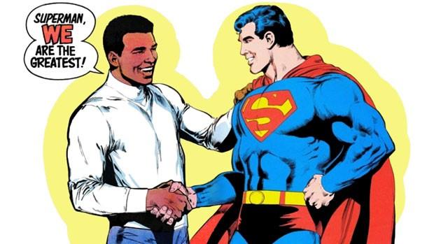 Cena da história em quadrinhos da DC Comics de 1978 que coloca frente a frente Muhammad Ali e Super-Homem. (Foto: Divulgação/DC Comics)