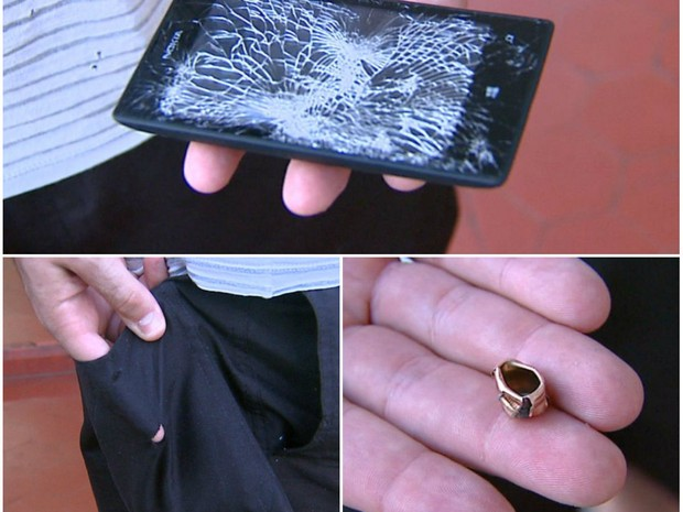 Celular no bolso desvia tiro e salva PM durante assalto a casa em Araraquara (Foto: Ely Venâncio/EPTV)