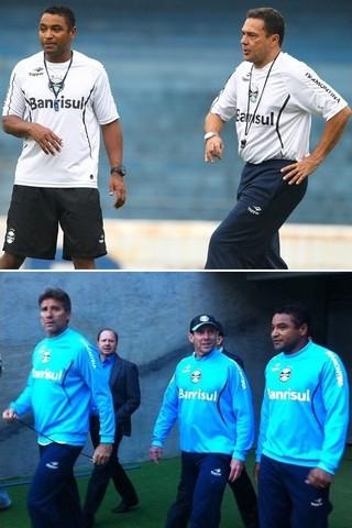 Roger teve oportunidade de trabalhar com técnicos como Vanderlei Luxemburgo e Renato no Grêmio (Foto: Montagem dobre fotos de Lucas Uebel/Grêmio, e Hector Werlang/GloboEsporte.com)
