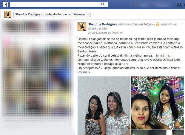 Jovem usou as redes sociais para desabafar sobre a morte da amiga (Foto: Reprodução/Facebook)