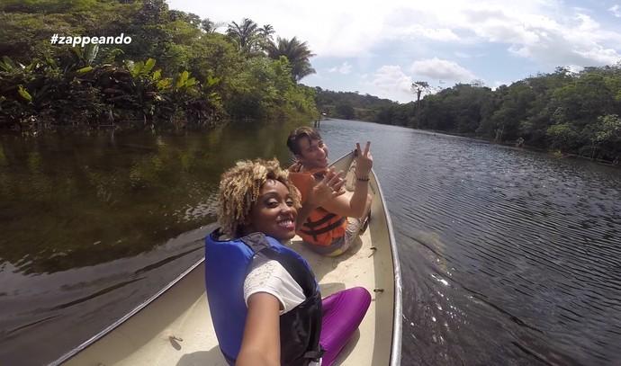 Equipe do 'Zapp' desafia Titia Tal Qual em parque de aventuras  (Foto: Rede Amazônica)