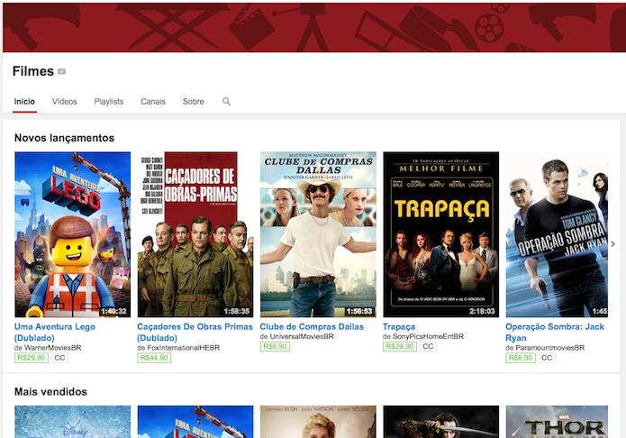 Acessando o canal de filmes do YouTube (Foto: Reprodução/Edivaldo Brito)