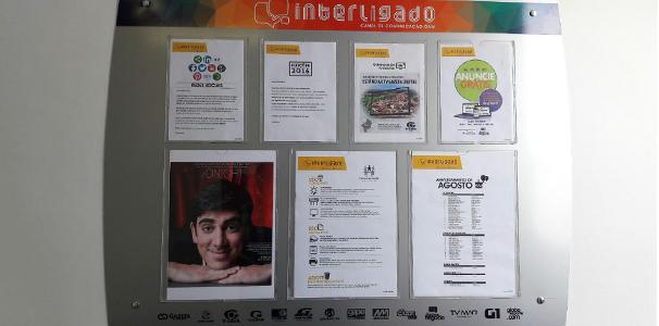 Mural interno da TV Gazeta também faz chamado para estreia de Adnight   (Foto: Divulgação/ Marketing TV Gazeta)