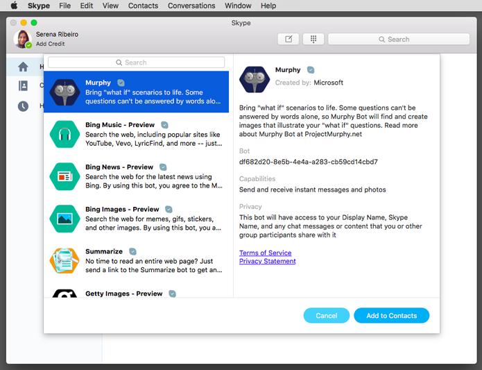Novos bots do Skype podem ser usados na versão para Mac (Foto: Reprodução/Microsoft)