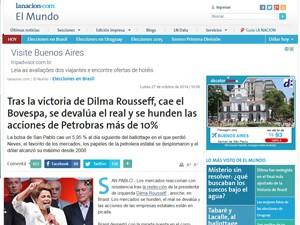 Reportagem sobre a quedas das ações no Brasil (Foto: Reprodução/La Nacion)