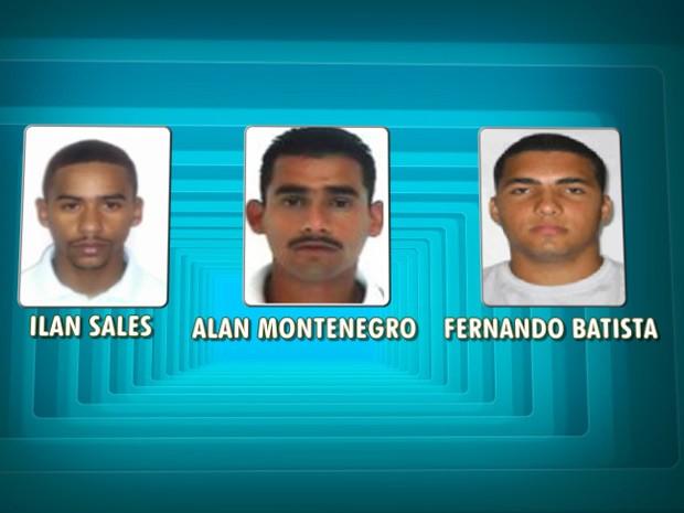 Três suspeitos de atacar a UPP de Nova Brasília ainda são procurados pela polícia (Foto: Arte/ TV Globo)