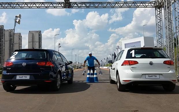 Test-drive da Volkswagen no Salão do Automóvel (Foto: Reprodução)