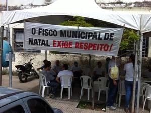 Auditores se mobilizaram em frebte à Semut nesta quarta (5) (Foto: Divulgação/Assessoria Asan)