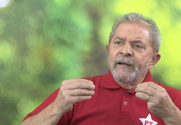 O ex-presidente Luiz Inácio Lula da Silva durante pronunciamento do PT na televisão (Foto: Reprodução/YouTube)