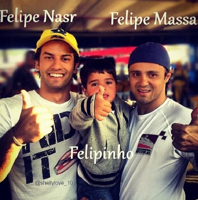 Felipe Massa, Felipe Nasr e Felipinho (Foto: Reprodução / Instagram)