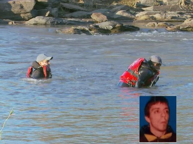 Buscam por corpo de argentino que desapareceu no Rio Verde já duram 40 horas. (Foto: Reprodução EPTV)