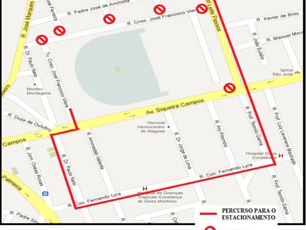 Croqui da alteração do trânsito no Rei Pelé 01 (Foto: Reprodução)